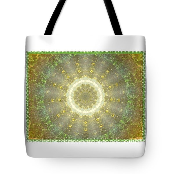 Kaleidoscope Golden Green Tote Bag by Shirley Moravec