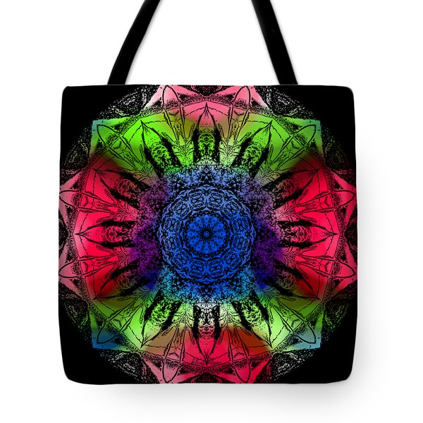 Tote Bag featuring the digital art Kaleidoscope - Warm And Cool Colors by Deleas Kilgore