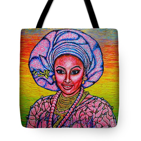 Tote Bag featuring the painting Kalimba De Luna 2 by Viktor Lazarev