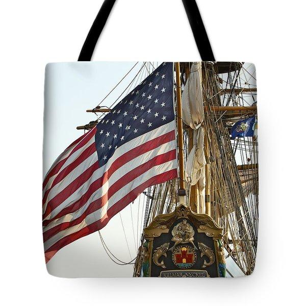 Kalmar Nyckel American Flag Tote Bag by Alice Gipson