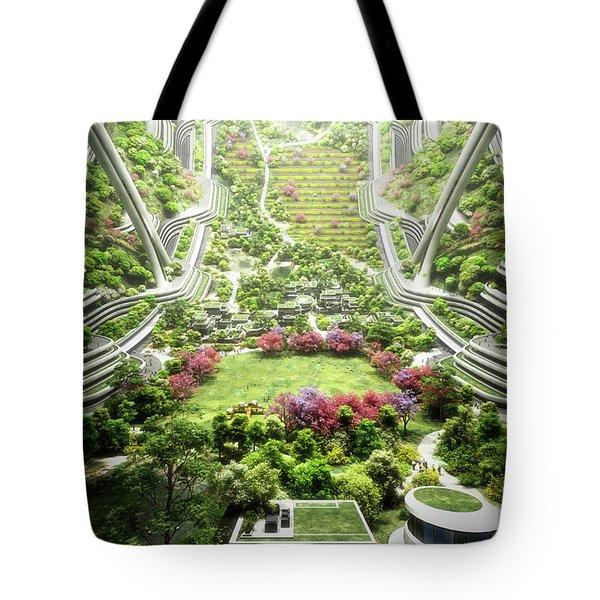 Tote Bag featuring the digital art Kalpana One Neighborhood Vertical by Bryan Versteeg