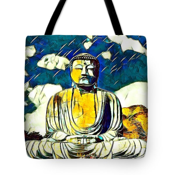 Tote Bag featuring the mixed media Kamakura Daibutsu by Lita Kelley