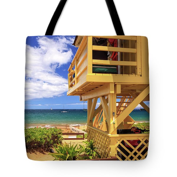 Tote Bag featuring the photograph Kamaole Beach Lifeguard Tower by James Eddy