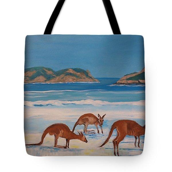 Kangaroos On The Beach Tote Bag