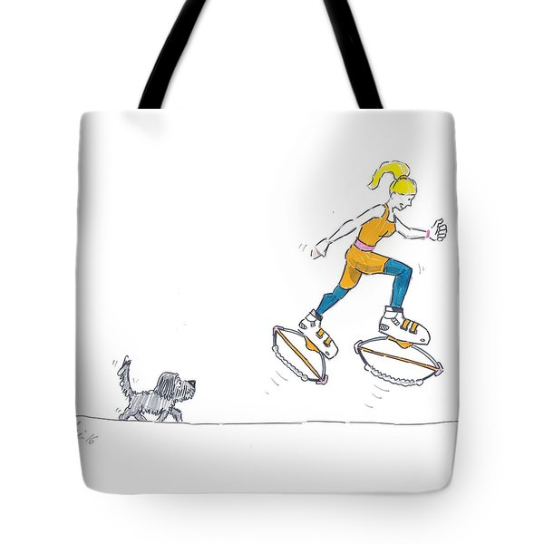 Kangoo Jumps Bouncy Shoes Walking The Dog Keep Fit Cartoon Tote Bag