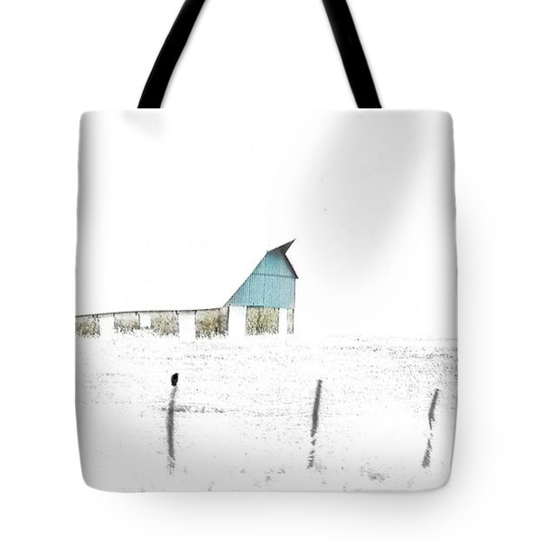 Kansas Blue Barn In Frozen Fog Tote Bag