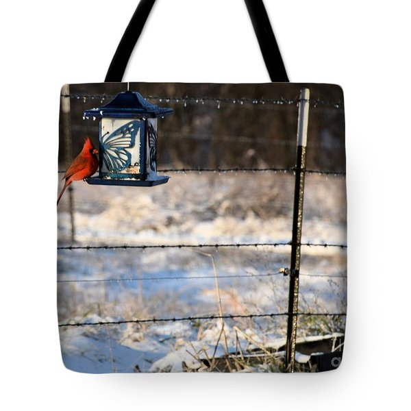 Kansas Cardinal At The Feeder Tote Bag