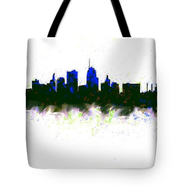 Kansas City Skyline Blue  Tote Bag