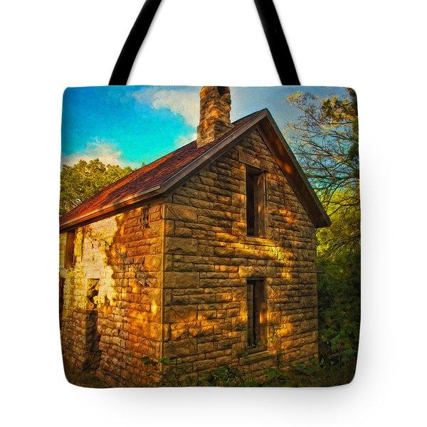 Kansas Countryside Stone House Tote Bag