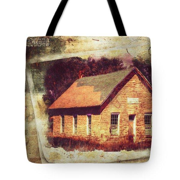 Kansas Old Stone Schoolhouse Tote Bag