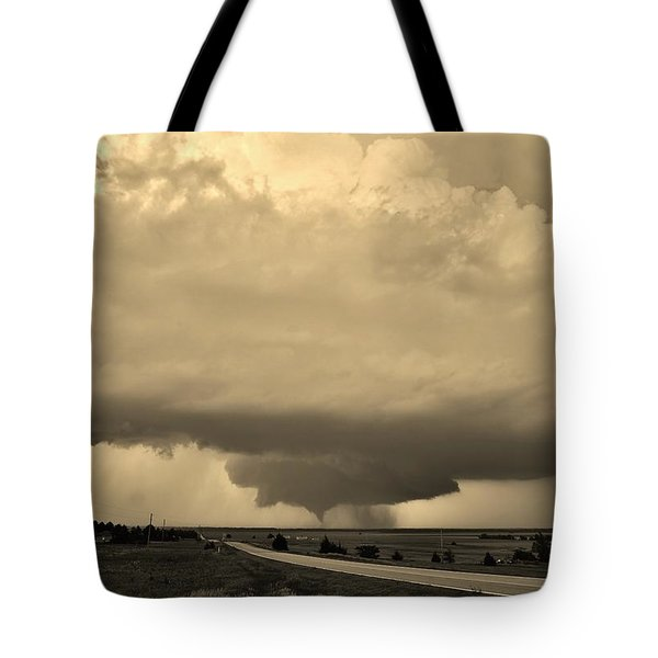 Tote Bag featuring the photograph Kansas Twister - Sepia by Ed Sweeney