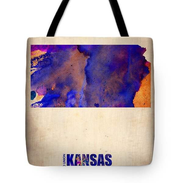 Kansas Watercolor Map Tote Bag