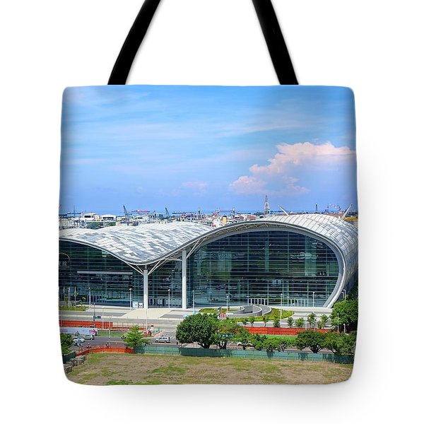 Tote Bag featuring the photograph Kaohsiung Exhibition Center And Port by Yali Shi