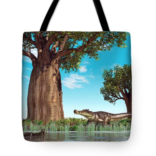 Kaprosuchus Crocodyliforms Tote Bag by Walter Myers