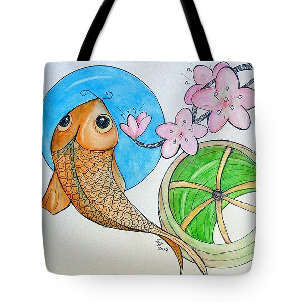 Karp And Cherry Blooms Tote Bag