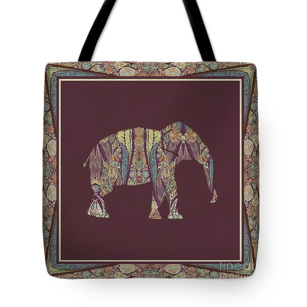 Tote Bag featuring the painting Kashmir Patterned Elephant 2 - Boho Tribal Home Decor  by Audrey Jeanne Roberts