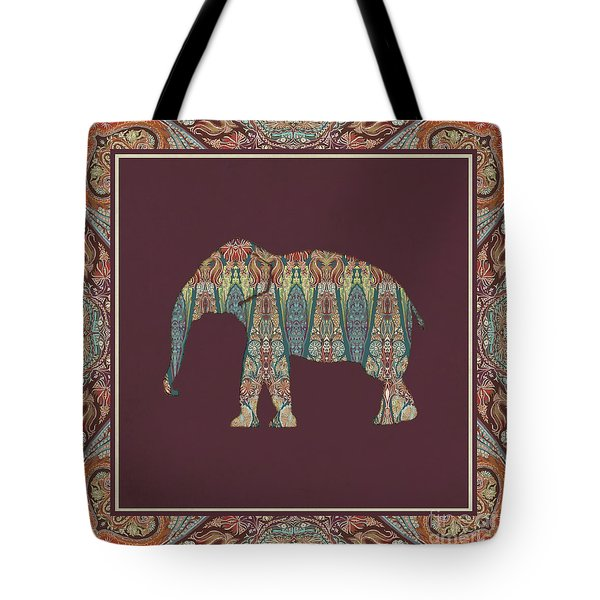 Tote Bag featuring the painting Kashmir Patterned Elephant - Boho Tribal Home Decor  by Audrey Jeanne Roberts