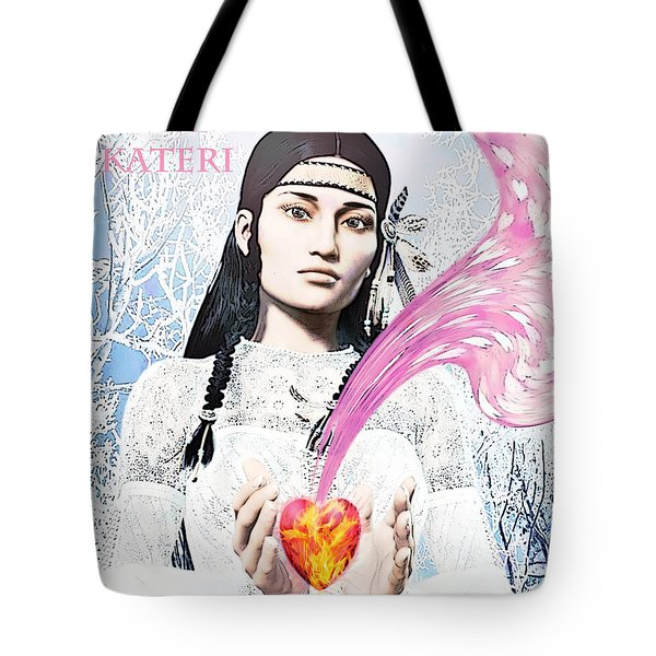 Kateri Tekakwitha Valentine Image Tote Bag by Suzanne Silvir