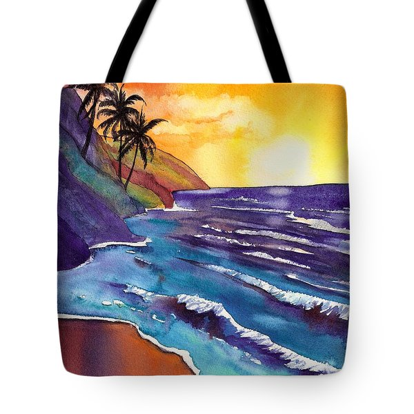 Kauai Na Pali Sunset Tote Bag by Marionette Taboniar