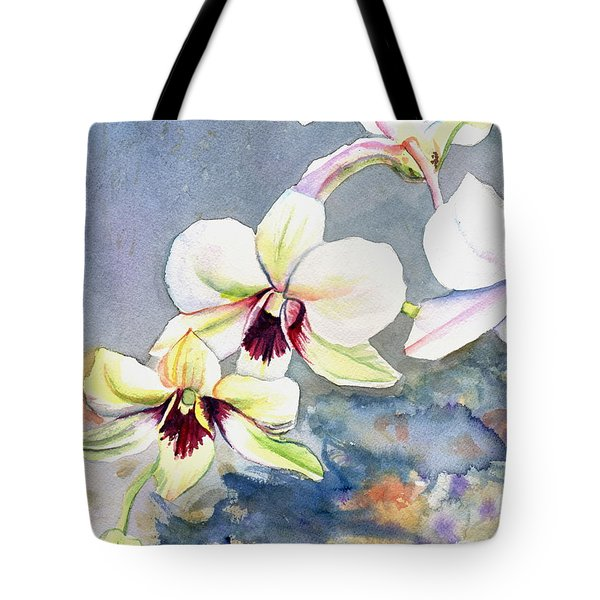 Tote Bag featuring the painting Kauai Orchid Festival by Marionette Taboniar