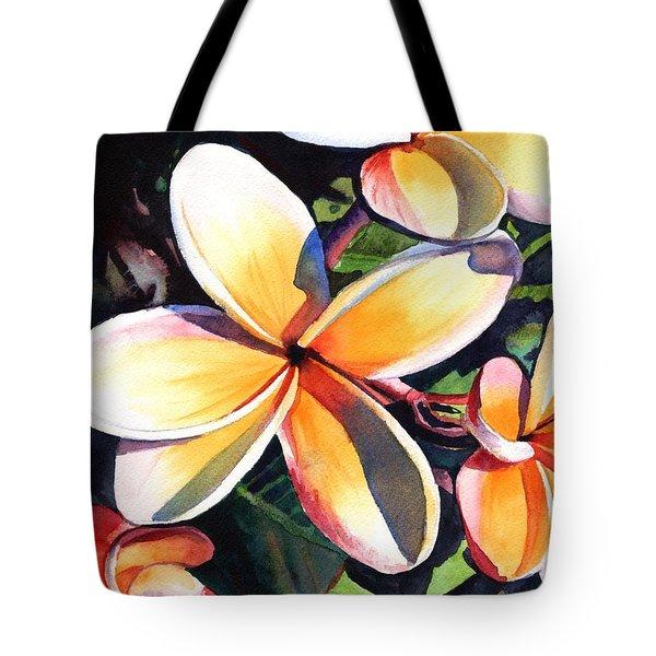 Kauai Rainbow Plumeria Tote Bag