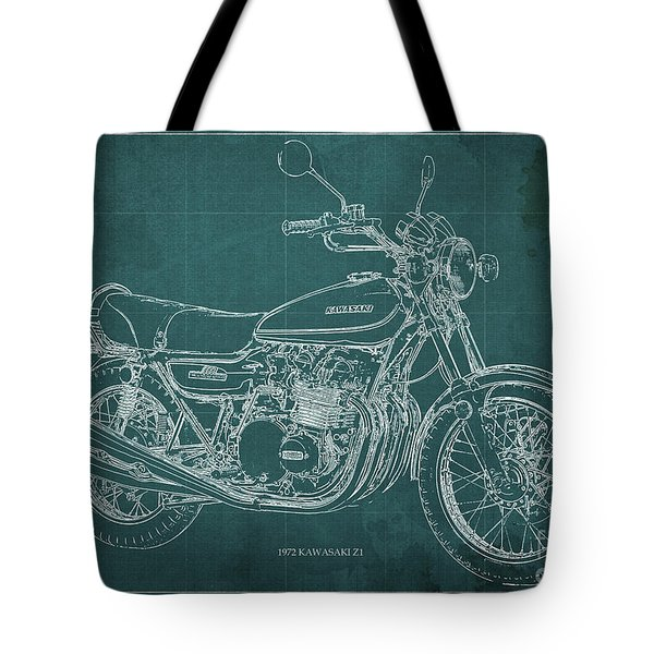 Kawasaki Motorcycle Blueprint, Mid Century Art Print Tote Bag