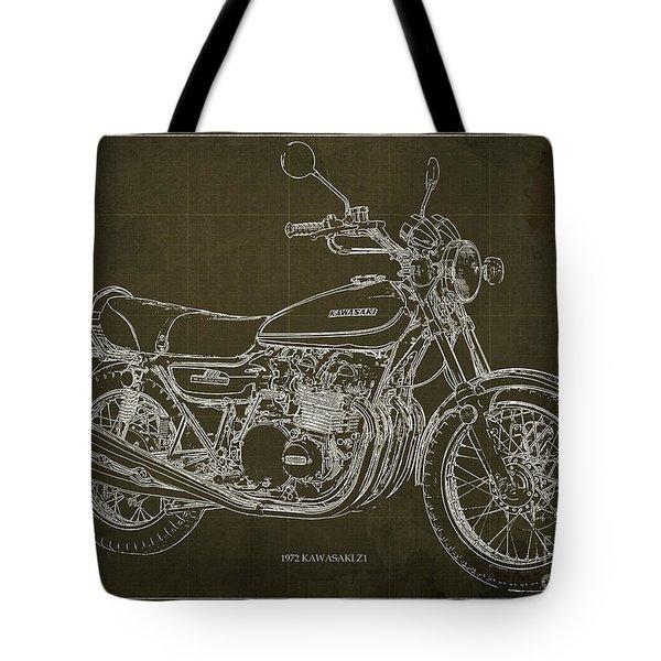Kawasaki Motorcycle Blueprint, Mid Century Brown Art Print Tote Bag