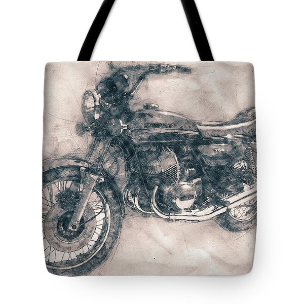 Kawasaki Triple - Kawasaki Motorcycles - 1968 - Motorcycle Poster - Automotive Art Tote Bag