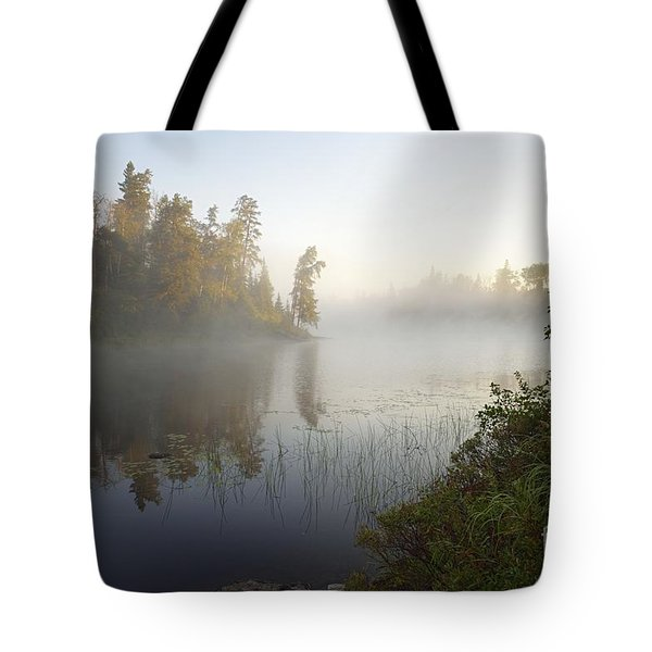 Tote Bag featuring the photograph Kawishiwi Morning Fog by Larry Ricker