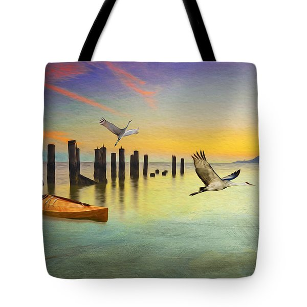Kayak And Cranes Tote Bag