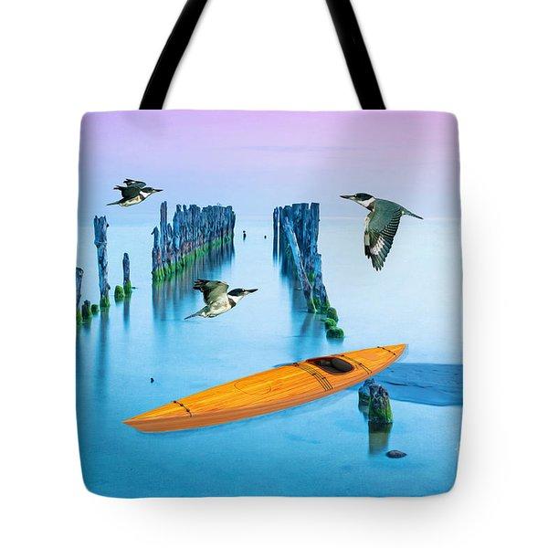 Kayak And Kingfishers Tote Bag