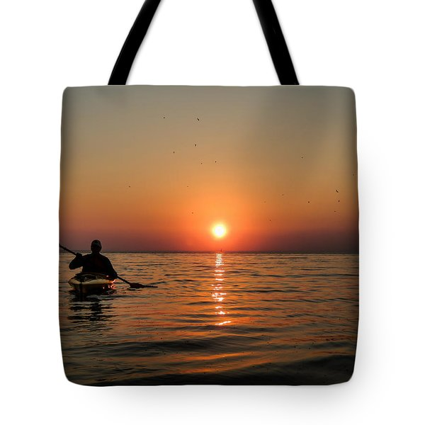 Kayak At Sunset Tote Bag