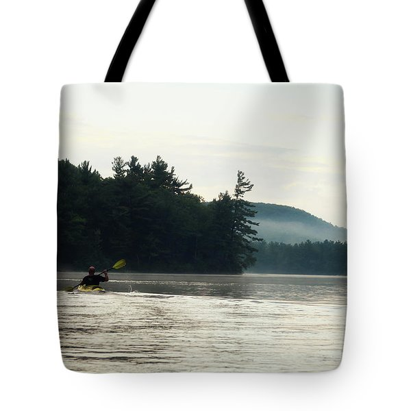 Kayak In The Fog Tote Bag