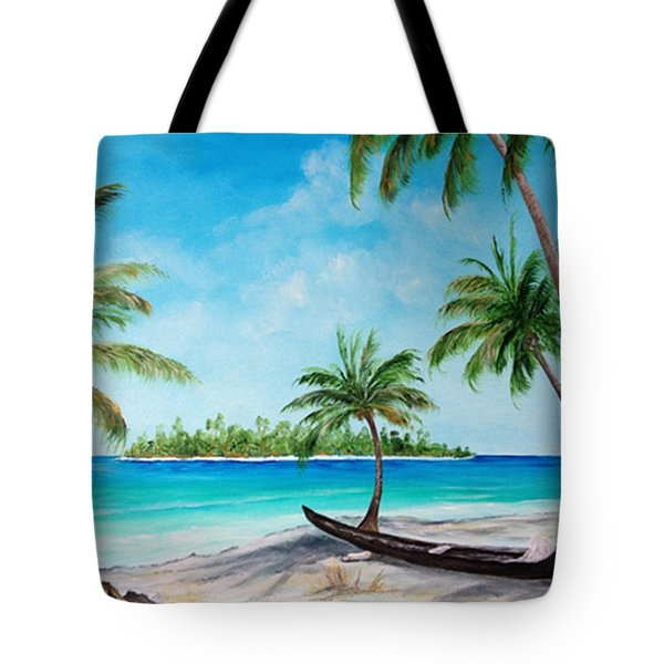 Kayak On The Beach Tote Bag