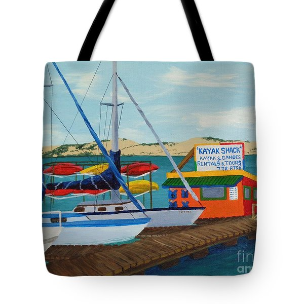 Tote Bag featuring the painting Kayak Shack Morro Bay California by Katherine Young-Beck