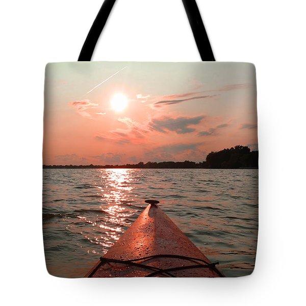 Kayak Sunset Tote Bag