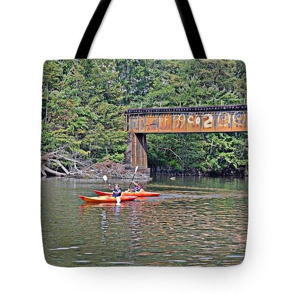 Kayakers Tote Bag by Linda Brown