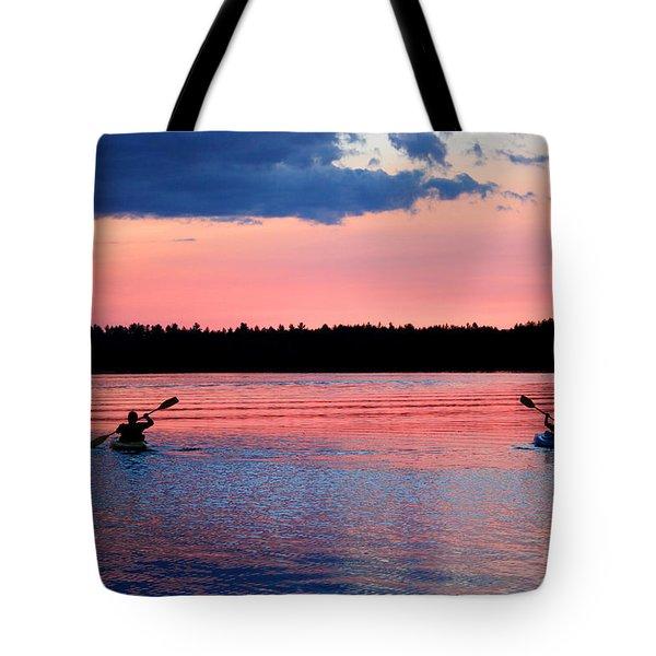 Kayaking At Sunset Tote Bag