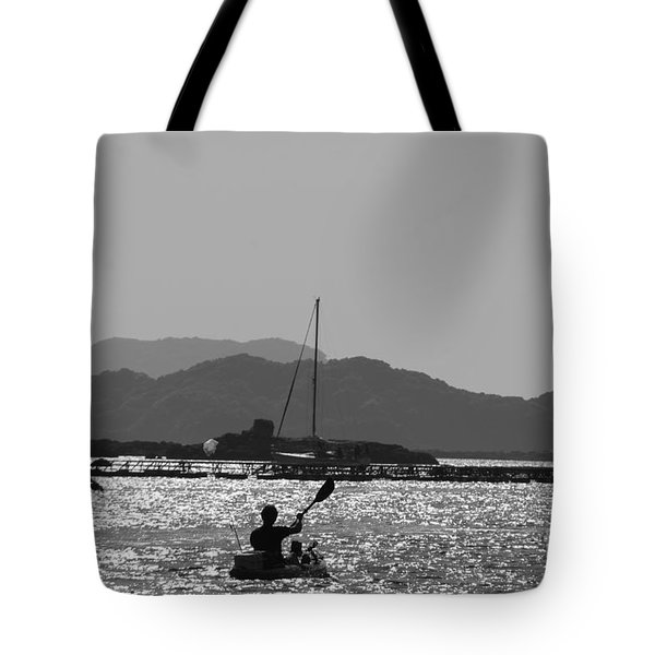 Tote Bag featuring the photograph Kayaking In Bw by Yumi Johnson