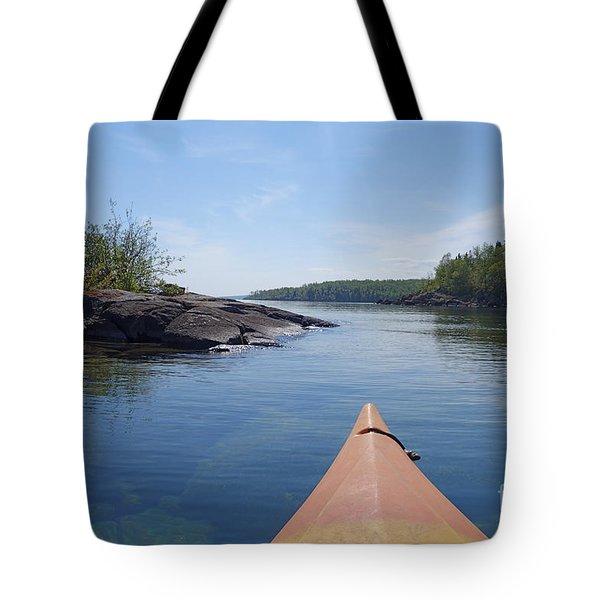 Tote Bag featuring the photograph Kayaking Lake Superior's North Shore by Sandra Updyke