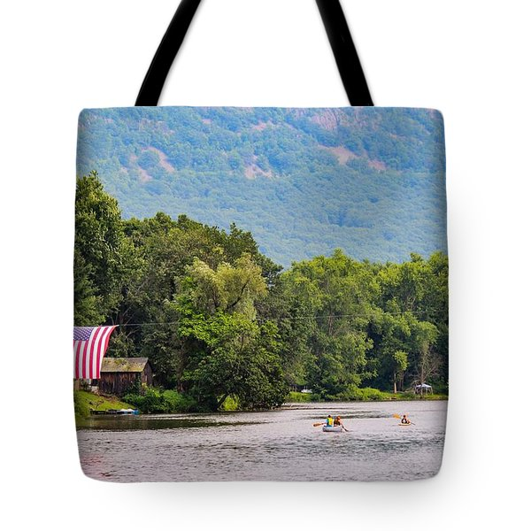 Kayaking On Nashawannuck Pond Easthampon Tote Bag
