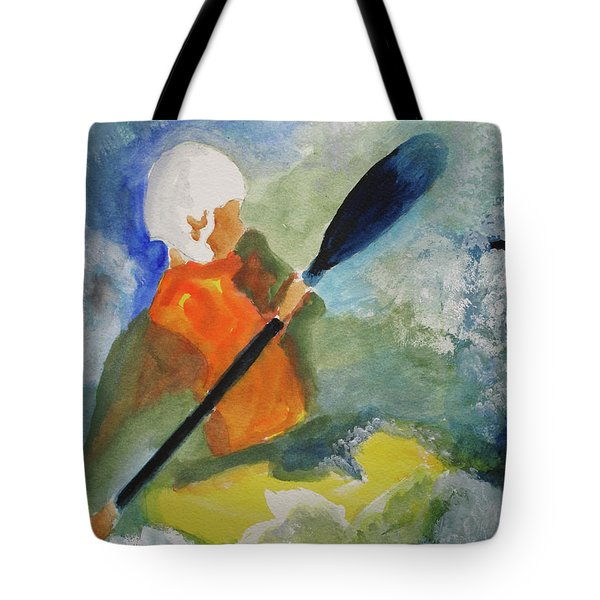 Tote Bag featuring the painting Kayaking by Sandy McIntire