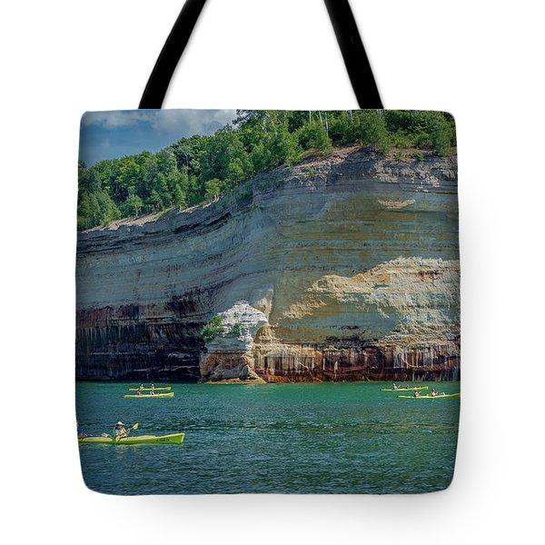 Kayaking The Pictured Rocks Tote Bag