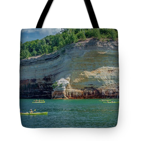 Kayaking The Pictured Rocks Tote Bag