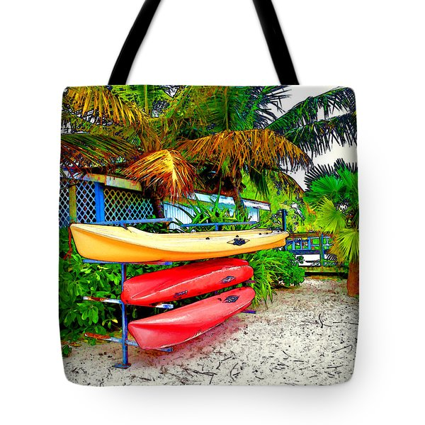 Kayaks In Paradise Tote Bag by Joan  Minchak