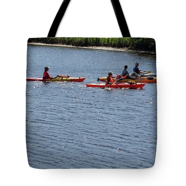 Tote Bag featuring the photograph Kayaks by John Mathews