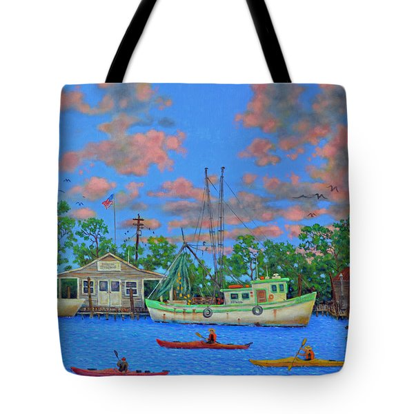 kayaks on the Creek Tote Bag by Dwain Ray