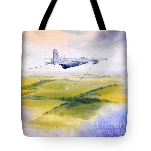 Kc-130 Tanker Aircraft Refueling Pave Hawk Tote Bag by Bill Holkham