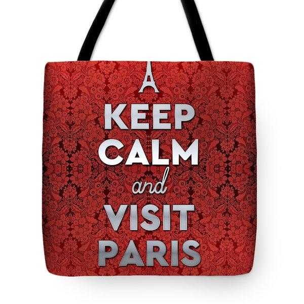 Keep Calm And Visit Paris Opera Garnier Floral Wallpaper Tote Bag