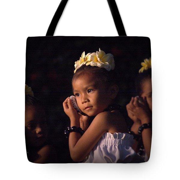 Tote Bag featuring the photograph Keiki Conch Shell Hula by Lori Seaman